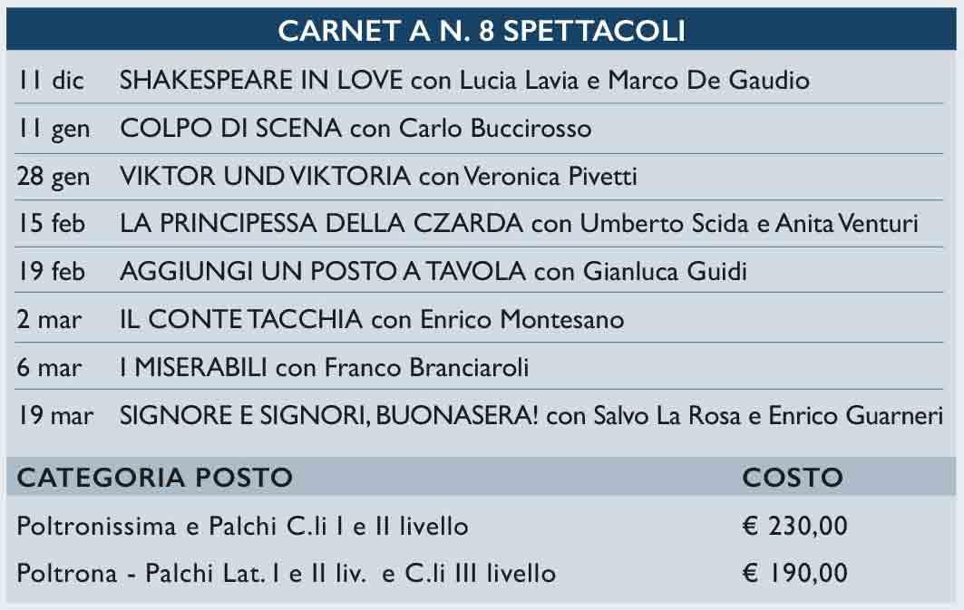 Costo Carnet 8 Spettacoli