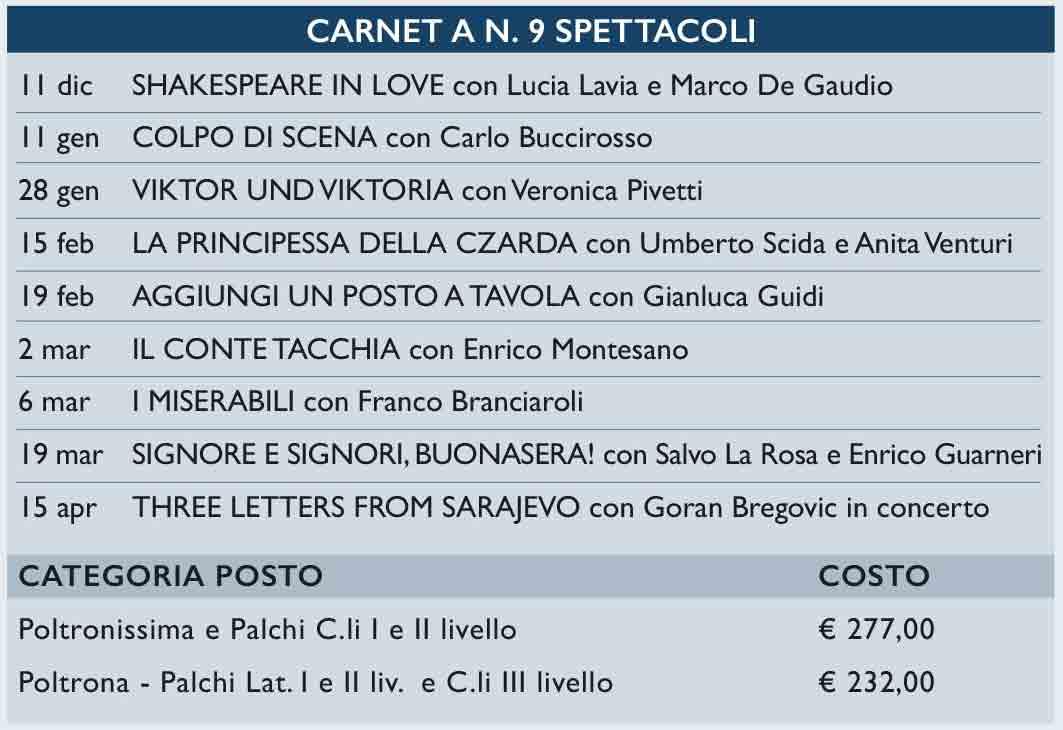 Costo Carnet 9 Spettacoli